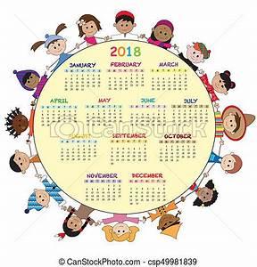 Calendário, 2018 Calendário, feliz, crianças, 2018