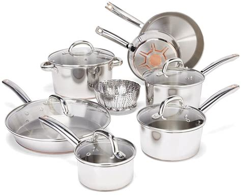 fal  piece stainless steel copper bottom cookware set   today