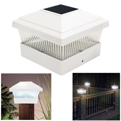 solar led powered light garden deck cap post square fence