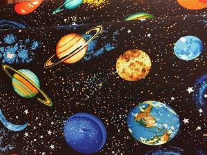 Planets outer space solar system fabric galaxy fabric