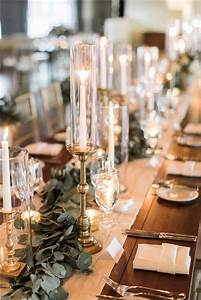 white, pillar, candles, in, hurricanes, and, gold, details, wedding, decor, ideas