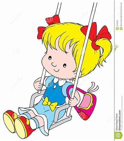 Swing Clip Children Clipart Illustration Yours Vector