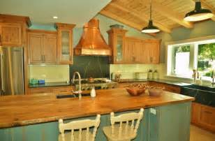 rustic pine antique teal grey copper kitchen