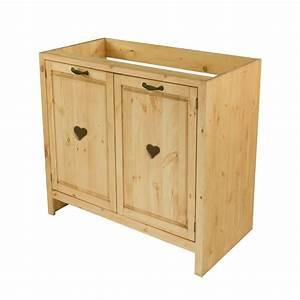 Evier Avec Meuble : meuble sous vier cuisine pin massif 80 cm avec coeur grenier alpin ~ Teatrodelosmanantiales.com Idées de Décoration