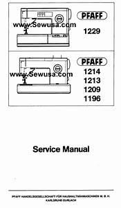 Pfaff 1196 1209 1213 1214 1229 Service Manual