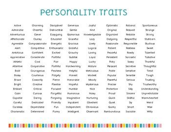 list  personality traits  counselor kasey teachers