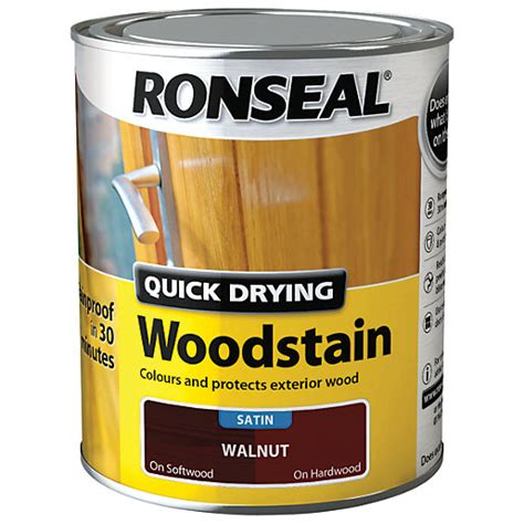 ronseal quick drying woodstain satin walnut ml