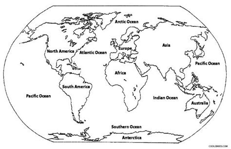 continents coloring page  printable world map coloring