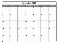 November 2018 Calendar Template Printable USA UK Canada