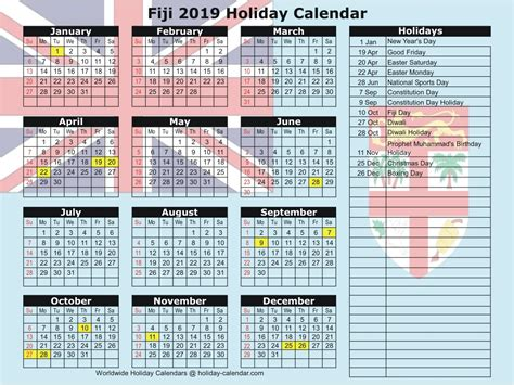 fiji holiday calendar