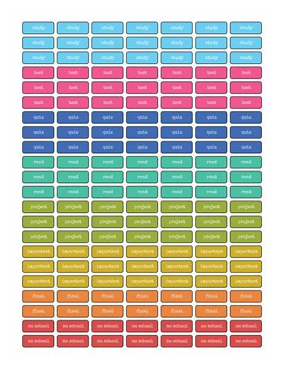 Planner Stickers Student Printable Labels Label Coded