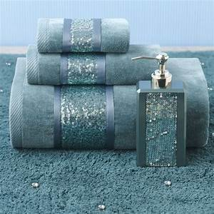 Croscill sequin shimmer teal bath collection color for Sequin bathroom sets