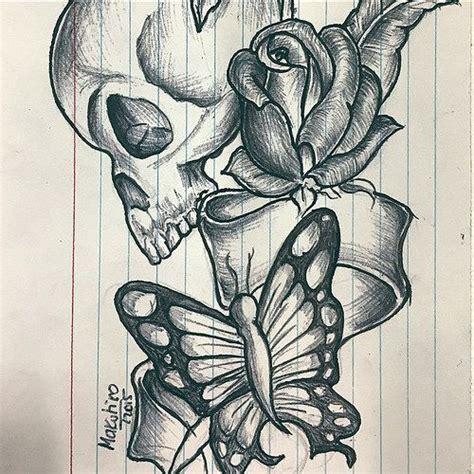 skull rose butterfly tat skull rose tattoo butterfly butterfly  roses tattoo art