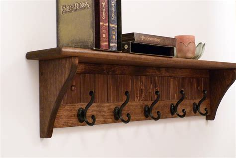 Entryway Coat Rack Wood Wall Shelf 35 Inches-full Color