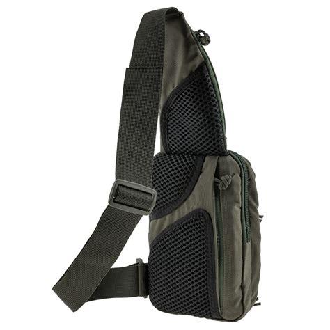 tactical bag shoulder chest pack  sling  concealed carry  handgun edc  ranger green