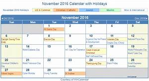 Print Friendly November 2016 Us Calendar For Printing