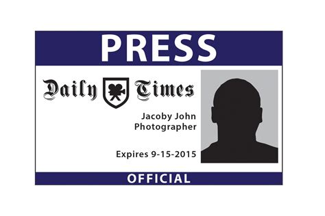 Media Pass Template by Colorful Media Pass Template Photo Professional Resume