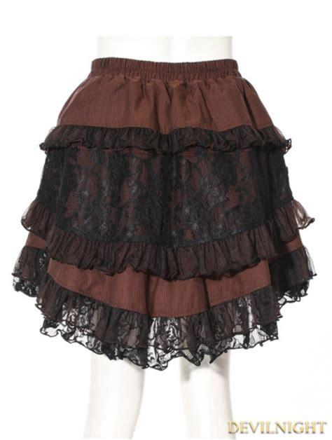 brown stripe short steampunk skirt devilnightcouk