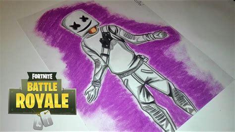 Como Dibujar la Skin de Marshmello de Fortnite l Dibuja