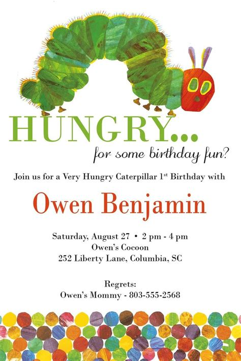 hungry caterpillar birthday invitations hungry