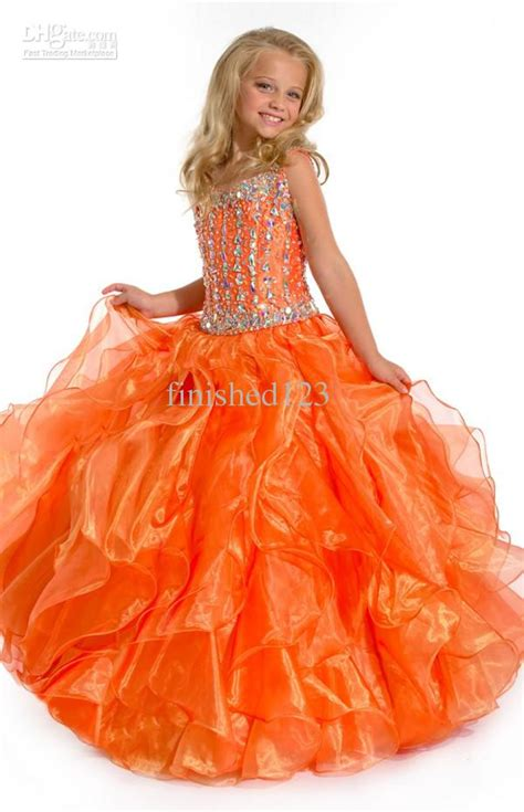 beading orange girls pageant dresses spaghetti