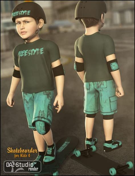 skateboarder for the 4 eveyday clothing for daz studio and poser