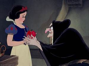The Evil Queen gives Snow White the poison apple–a classic ...