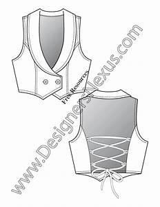 v20 back lacing vest flat fashion sketch template With vest top template