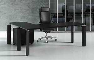 Bureau But Noir : crystal bureau en verre noir 180 cm avec retour caisson 3 tiroirs ~ Teatrodelosmanantiales.com Idées de Décoration