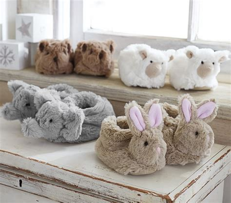pottery barn slippers nursery fur animal slippers pottery barn