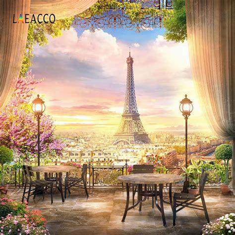 laeacco twilight eiffel tower paris curtain view platform