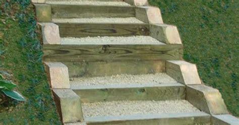 pressure treated timber  gravel stairs yard ideas