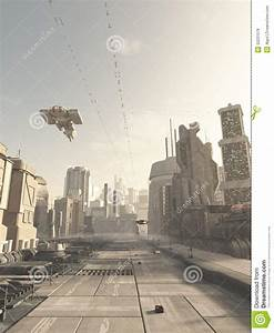 Future City Street With Space Cruiser Overhead Stock ...