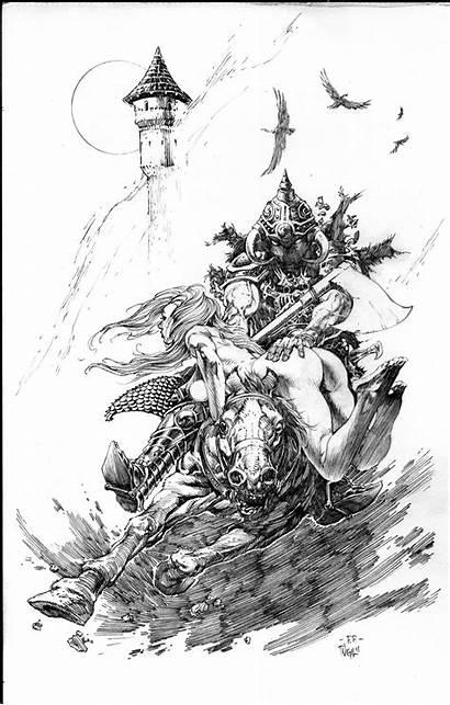 Vigil Tim Frazetta Frank Ink Drawings Monster
