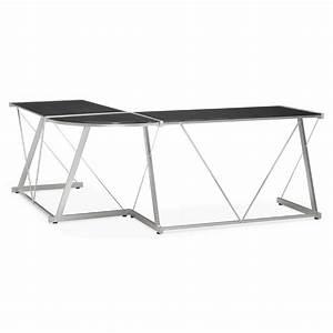 Bureau Angle Verre : bureau d 39 angle en verre lize noir ~ Teatrodelosmanantiales.com Idées de Décoration