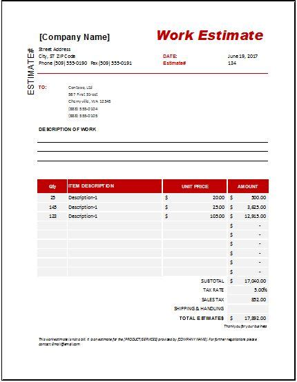 work estimate templates  ms excel word excel templates