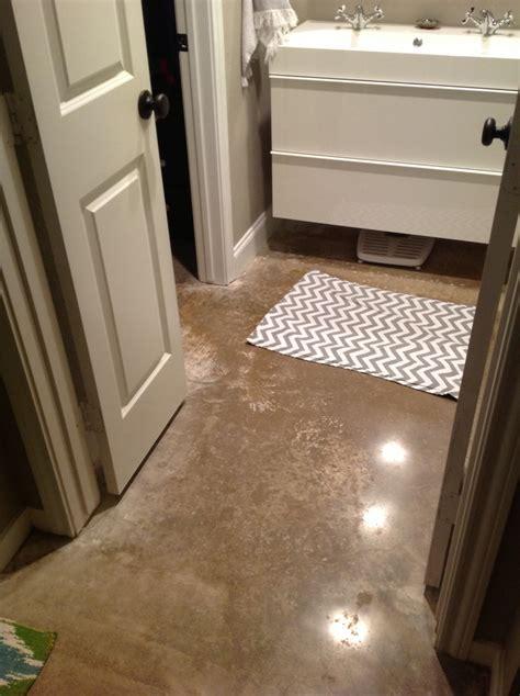 polished concrete bathroom floor small master bathroom redo polished concrete floors and 5 5 quot baseboards i decoupaged