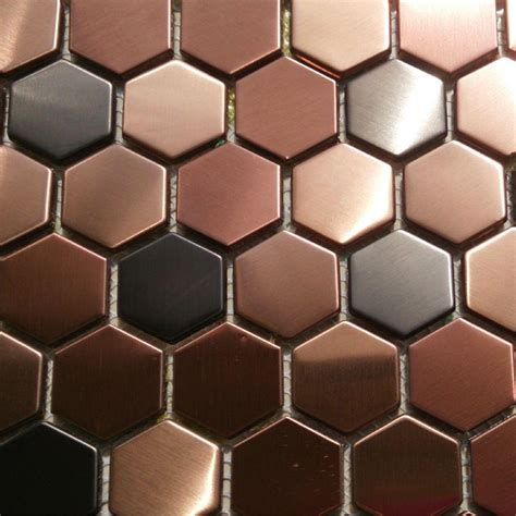 copper tile backsplash for kitchen 2018 hexagon mosaics tile copper gold color black