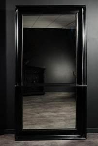 Miroir D Entrée : tr s grand miroir d 39 entr e avec tablette poser au sol cadre en bois peint la main laqu noir ~ Preciouscoupons.com Idées de Décoration
