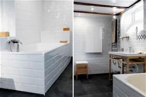 Renovation Mur Salle De Bain : salle de bain carrelage blanc sur murs et tablier baignoire ~ Preciouscoupons.com Idées de Décoration