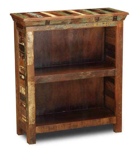 reclaimed wood small bookcase   living room