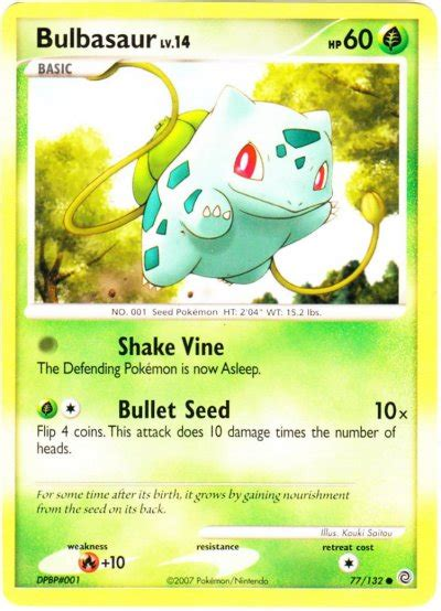 There is a plant seed on its back right from the day this pokémon is born. Serebii.net TCG Secret Wonders - #77 Bulbasaur