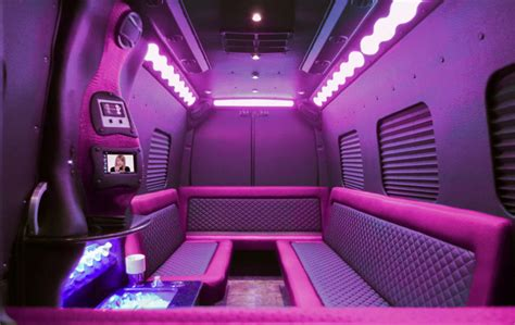 pink mercedes party bus clean ride limo