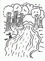 Coloring River Printable Trees Kindergarten Colouring Sheets Camping Rivers Rio Drawing Landforms Nature Printables Preschool Landform Children Animals Forest Clouds sketch template