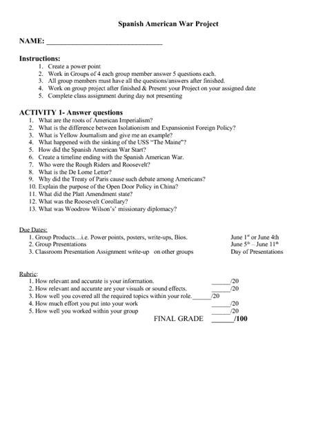 Spanish American War Worksheet Worksheets Kristawiltbank