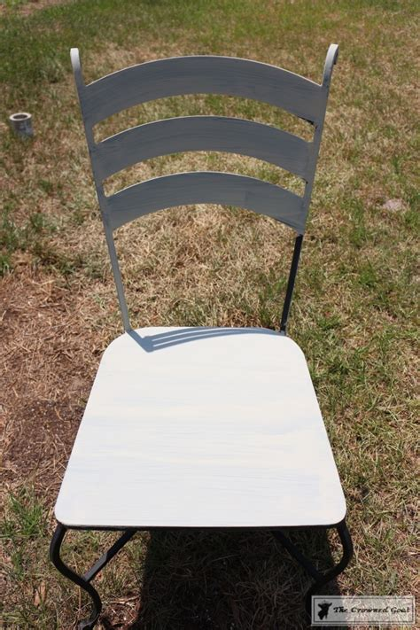 using chalk paint on metal patio furniture the crowned goat