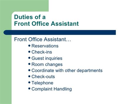 front desk agent job duties introduction to hotel front office