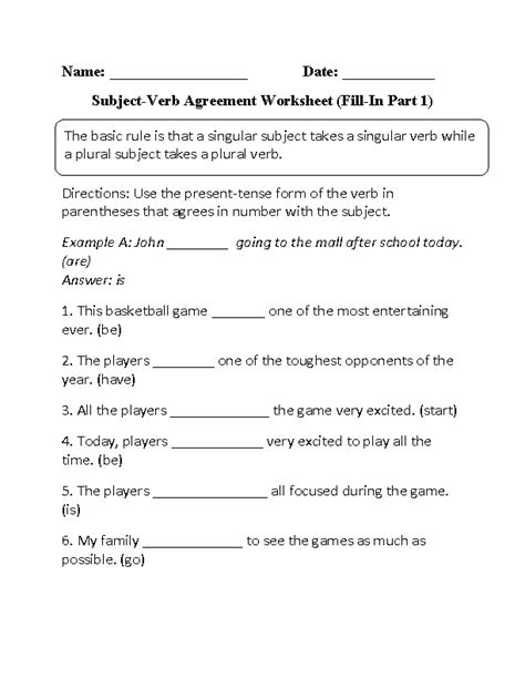 Subject Verb Agreement Worksheets  Fillin Subject Verb