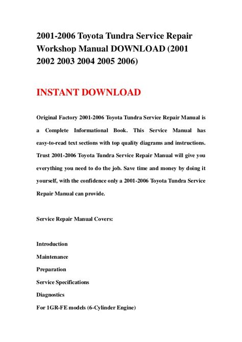 how to download repair manuals 2004 toyota tundra 2001 2006 toyota tundra service repair workshop manual download 2001