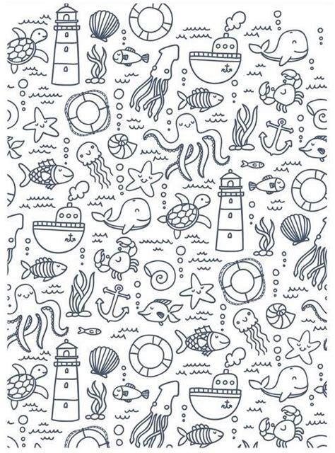 marine life doodles sea fish summer ocean doodles